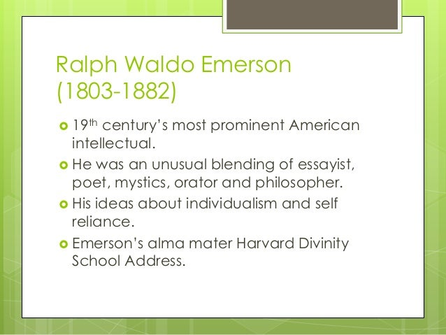 divinity school address emerson 2010-12-20 ralph waldo emerson (may 25, 1803 – april 27,  harvard divinity school for the school's graduation address, which came to be known as his divinity school address emerson discounted biblical miracles and proclaimed that.