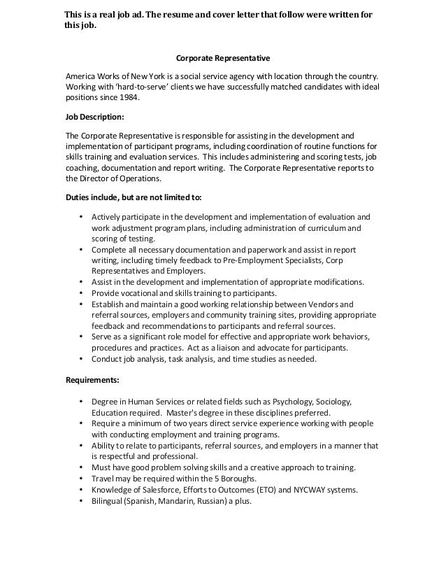 Social Services Assistant Cover Letter Resume Format