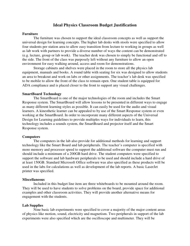 Ideal physics classroom budget justification for Budget justification template