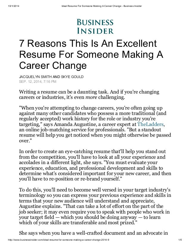 10/1/2014 Ideal Resume For Someone Making A Career Change   Business  Insider ...  Career Transition Resume