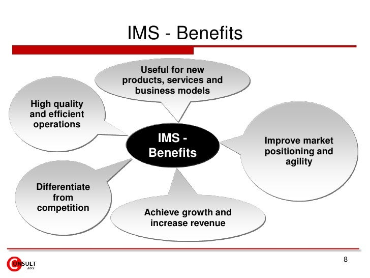 IMS - Benefits<br />Useful for new products, services and business models<br />High quality and efficient operations<br />...