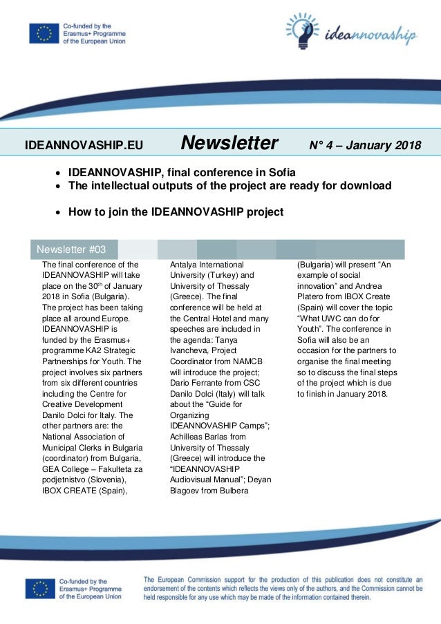IDEANNOVASHIP.EU Newsletter N° 4 – January 2018  IDEANNOVASHIP, final conference in Sofia  The intellectual outputs of t...