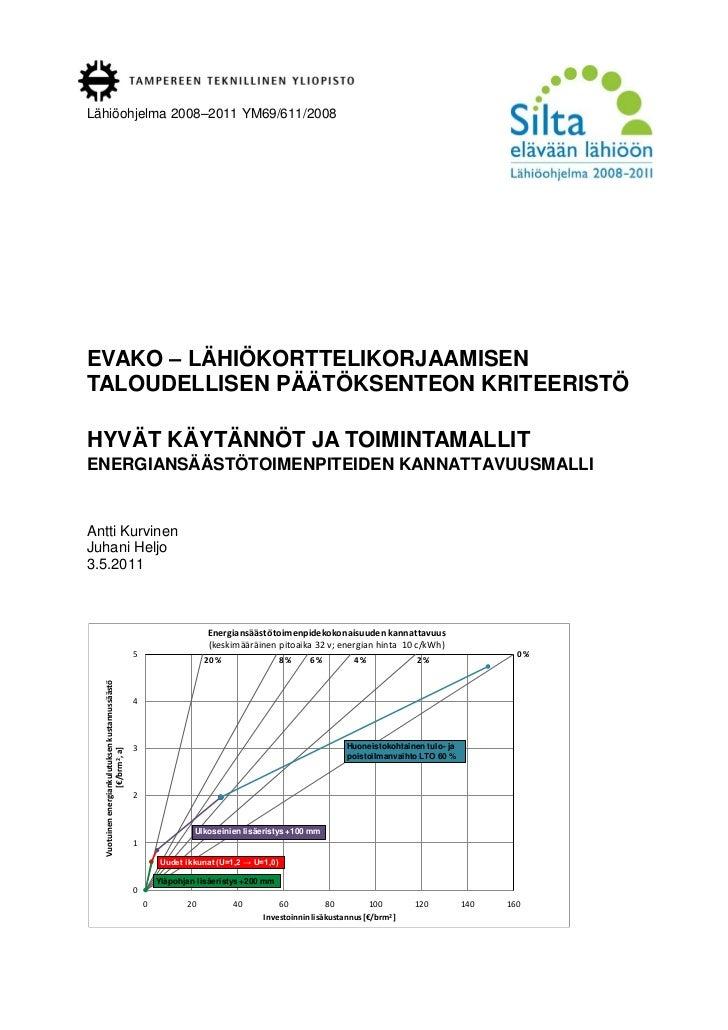 Lähiöohjelma 2008–2011 YM69/611/2008EVAKO – LÄHIÖKORTTELIKORJAAMISENTALOUDELLISEN PÄÄTÖKSENTEON KRITEERISTÖHYVÄT KÄYTÄNNÖT...