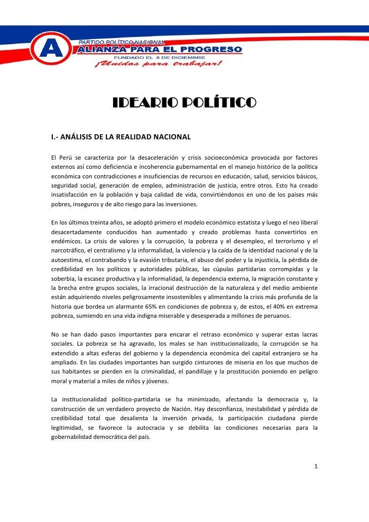IDEARIO POLÍTICO   I.‐ANÁLISISDELAREALIDADNACIONAL  El Perú se caracteriza po...