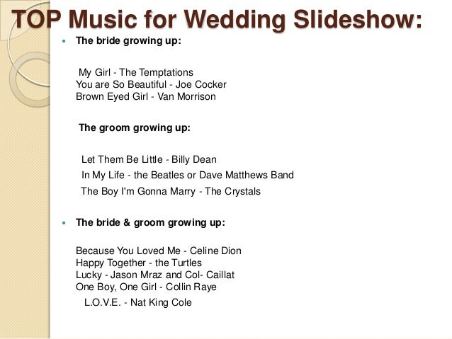 Ideas for-wedding-slideshow-songs