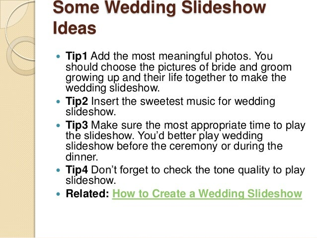 ideas for wedding slideshow songs
