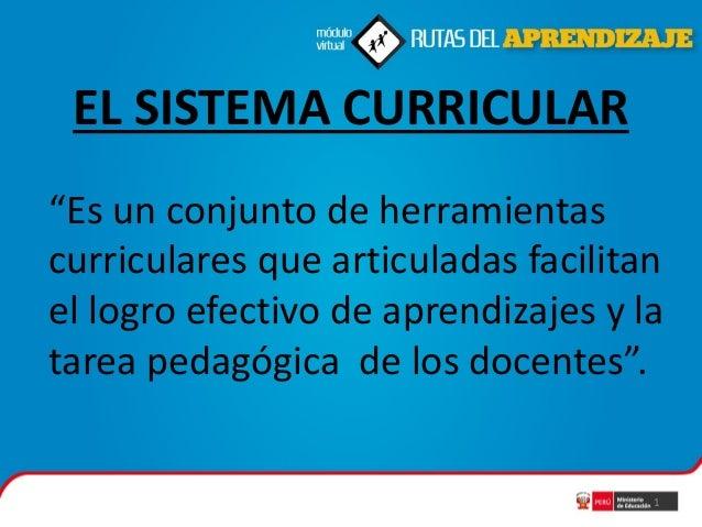 """EL SISTEMA CURRICULAR """"Es un conjunto de herramientas curriculares que articuladas facilitan el logro efectivo de aprendiz..."""