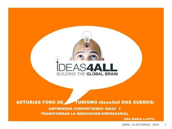 ASTURIAS FORO DE  TURISMO ideas4all DOS SUEÑOS:   EMPRENDER COMPARTIENDO IDEAS  Y  TRANSFORMAR LA INNOVACION EMPRESARIAL  ...