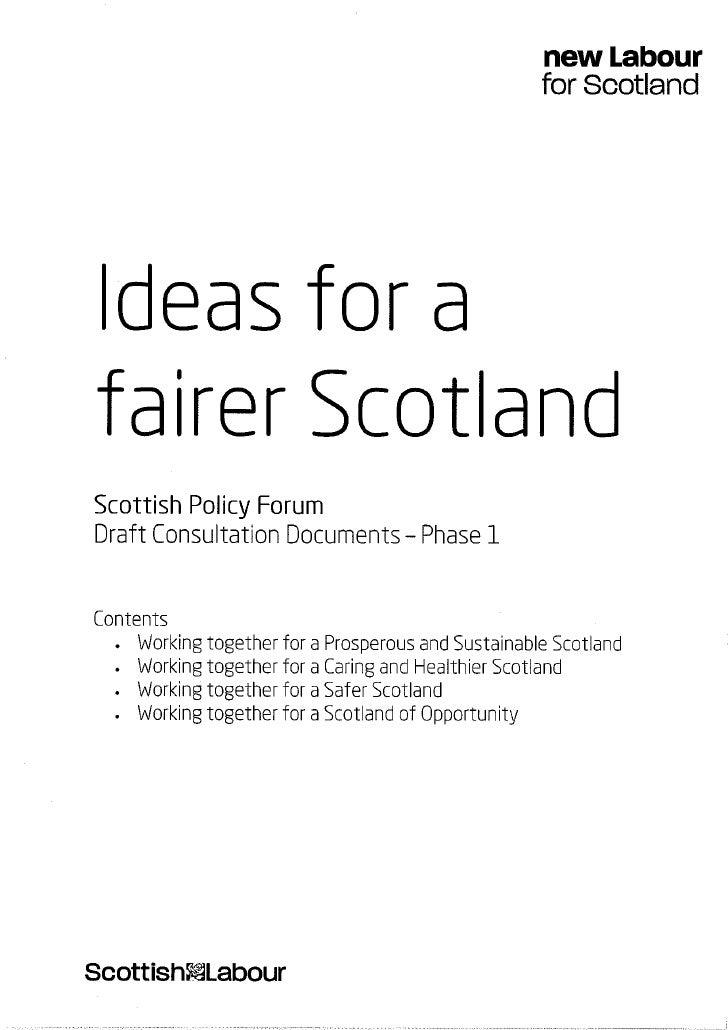 Ideas for a fairer Scotland