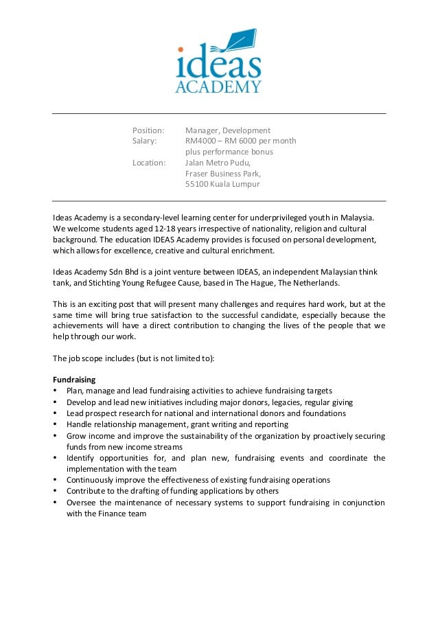 Ideas Academy Development Manager Job Description April