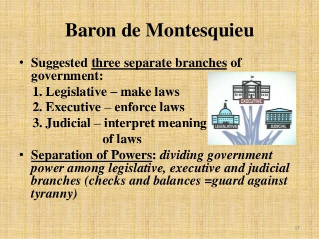 the importance behind the creation of the executive judicial and legislative branches of the federal What separation of powers means for constitutional government  who alone justly unites the legislative, judicial, and executive powers in the same hands  it allows the branches of the .