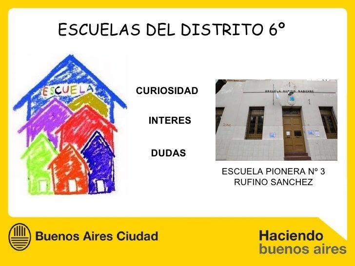 ESCUELAS DEL DISTRITO 6º CURIOSIDAD INTERES DUDAS ESCUELA PIONERA Nº 3 RUFINO SANCHEZ