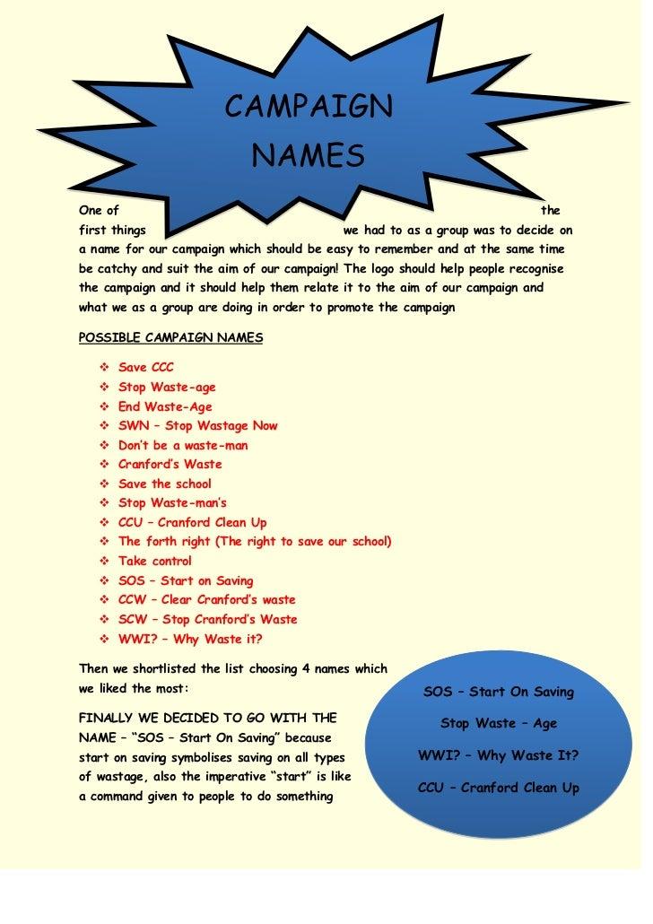 Campaign Name - Ideas