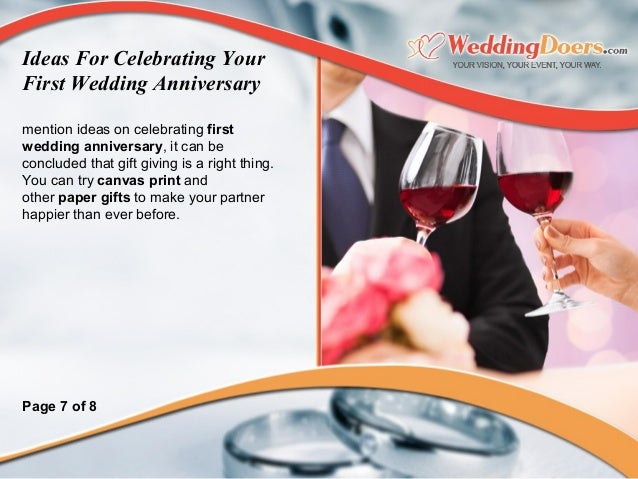 Gift Ideas First Wedding Anniversary: Ideas For Celebrating Your First Wedding Anniversary