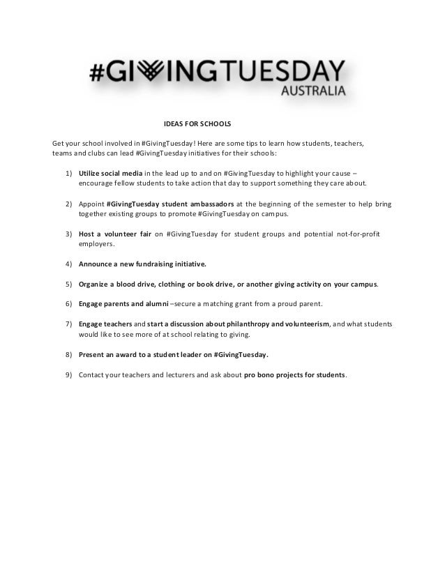 IDEAS FOR SCHOOLS    Get your school involved in #GivingTuesday! Here are some tips to learn how students, teacher...