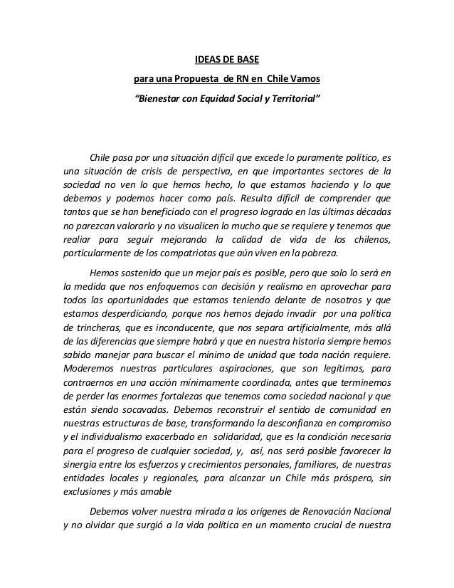 """IDEAS DE BASE para una Propuesta de RN en Chile Vamos """"Bienestar con Equidad Social y Territorial"""" Chile pasa por una situ..."""