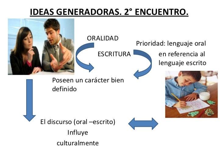 IDEAS GENERADORAS. 2° ENCUENTRO.                  ORALIDAD                                Prioridad: lenguaje oral        ...