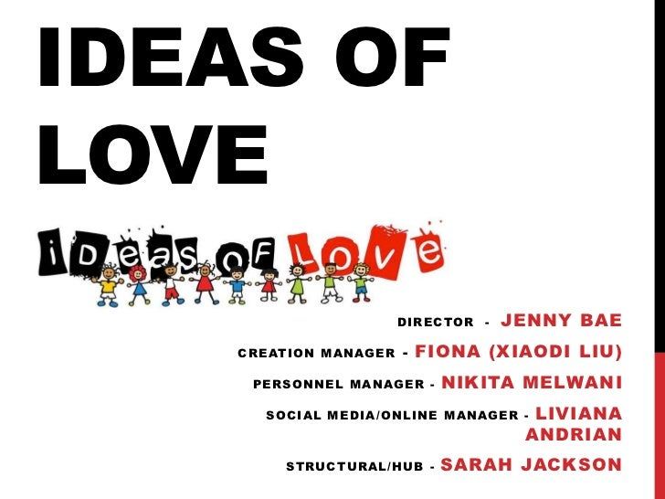 IDEAS OFLOVE                      DIRECTOR -   JENNY BAE   CREATION MANAGER   - FIONA (XIAODI LIU)    PERSONNEL MANAGER - ...