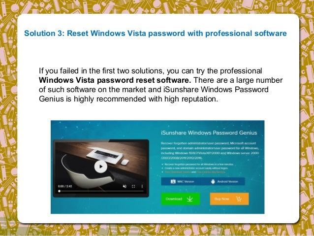 reset windows vista login password