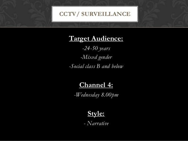 CCTV/ SURVEILLANCE  Target Audience:        -24-50 years       -Mixed gender  -Social class B and below      Channel 4:   ...
