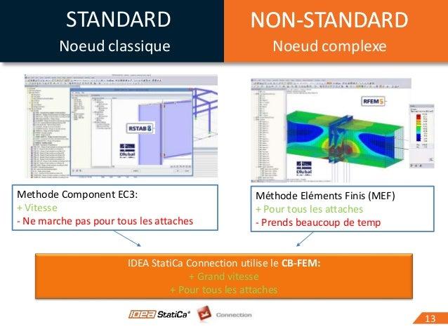 1313 IDEA StatiCa Connection utilise le CB-FEM: + Grand vitesse + Pour tous les attaches Methode Component EC3: + Vitesse ...
