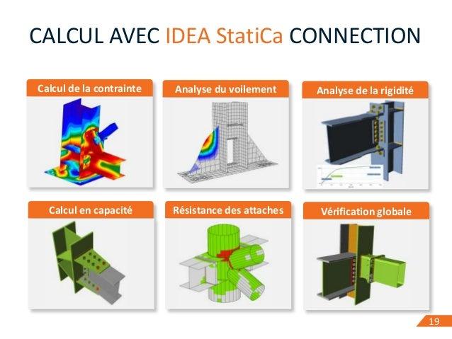 19 Calcul de la contrainte 19 CALCUL AVEC IDEA StatiCa CONNECTION Analyse du voilement Analyse de la rigidité Calcul en ca...