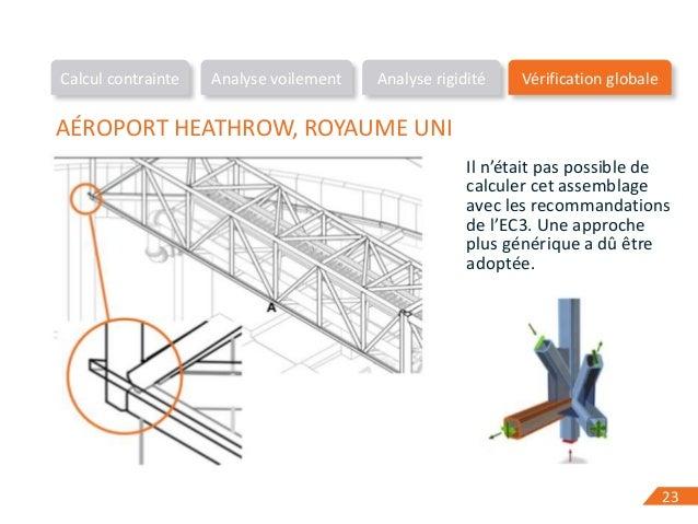 2323 AÉROPORT HEATHROW, ROYAUME UNI Il n'était pas possible de calculer cet assemblage avec les recommandations de l'EC3. ...