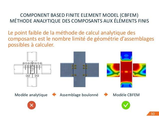 30 COMPONENT BASED FINITE ELEMENT MODEL (CBFEM) MÉTHODE ANALYTIQUE DES COMPOSANTS AUX ÉLÉMENTS FINIS Le point faible de la...