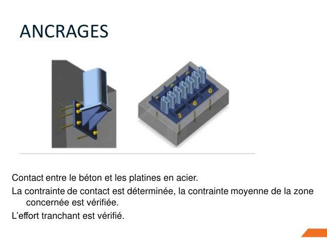Contact entre le béton et les platines en acier. La contrainte de contact est déterminée, la contrainte moyenne de la zone...