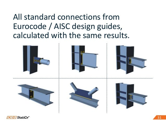 3131 All standard connections from Eurocode / AISC design guides, calculated with the same results.