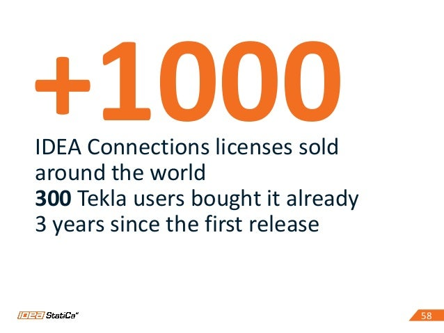 5858 +1000IDEA Connections licenses sold around the world 300 Tekla users bought it already 3 years since the first release