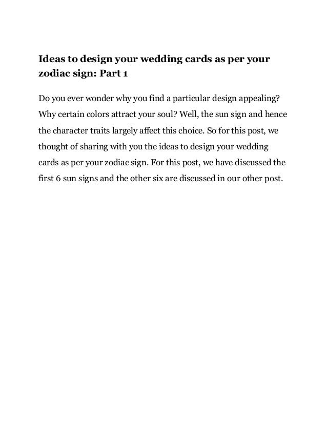 Ideas to design your wedding cards as per your zodiac sign