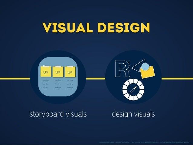 Visual Design storyboard visuals design visuals Idea Idea Idea execution revision execution revision execution revision ev...