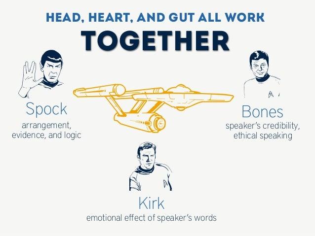 qKirk emotional effect of speaker's words z aspeaker's credibility, ethical speaking BonesSpock arrangement, evidence, and ...