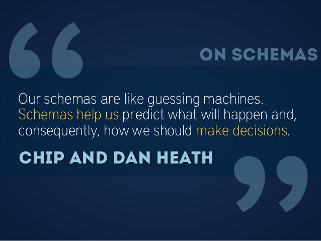 """""""Our schemas are like guessing machines. Schemas help us predict what will happen and, consequently, how we should make de..."""