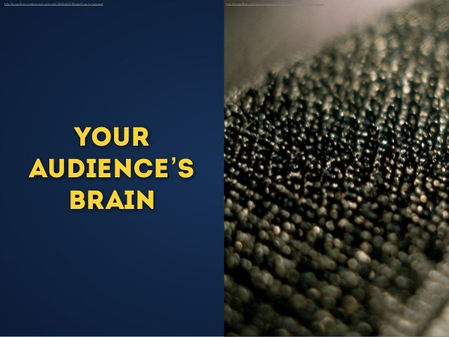 Your audience's brain http://www.flickr.com/photos/yuichirock/7156560374/sizes/l/in/photostream/ http://www.flickr.com/photo...