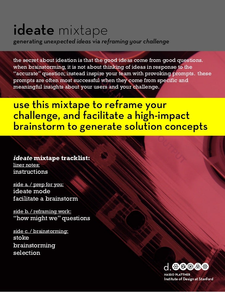 ideate mixtapegenerating unexpected ideas via reframing your challengethe secret about ideation is that the good ideas com...
