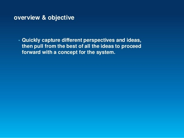 overview & objective• Quickly capture different perspectives and ideas,then pull from the best of all the ideas to proceed...