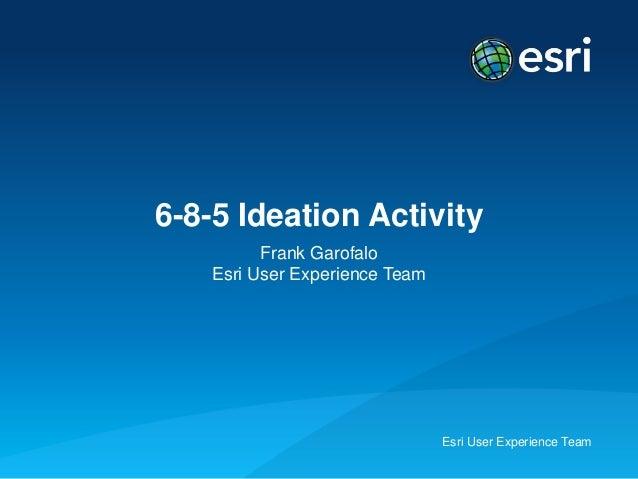 Esri User Experience Team6-8-5 Ideation ActivityFrank GarofaloEsri User Experience Team