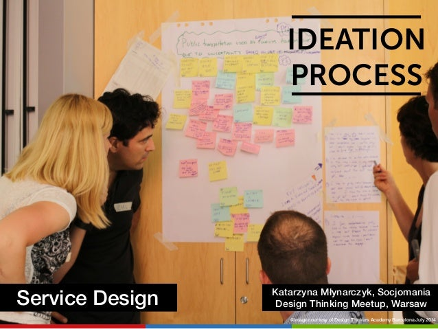 IDEATION  PROCESS  Service Design Katarzyna Młynarczyk, Socjomania  Design Thinking Meetup, Warsaw  @image courtesy of Des...