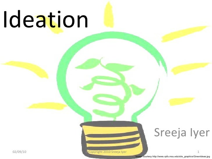 Ideation Sreeja Iyer 02/09/10 @Copyright 2010 Sreeja Iyer Image courtesy http://www.vpfo.msu.edu/site_graphics/GreenIdeas....