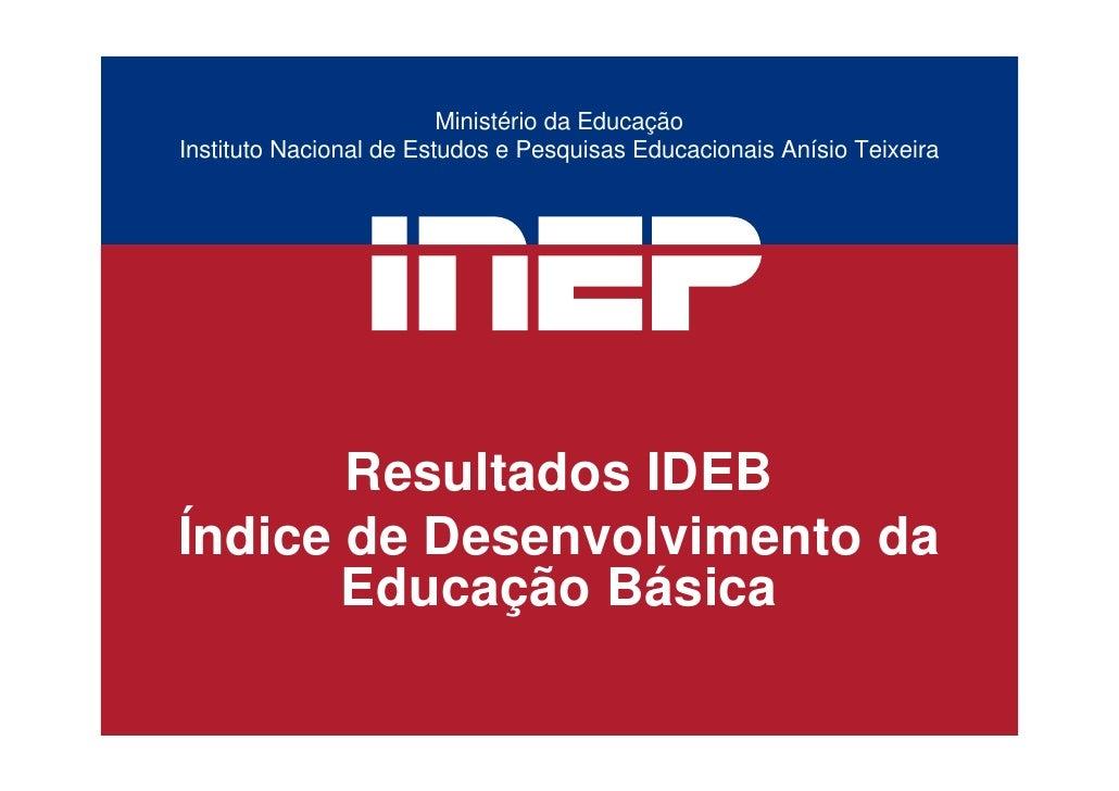 Ministério da Educação Instituto Nacional de Estudos e Pesquisas Educacionais Anísio Teixeira            Resultados IDEB Í...