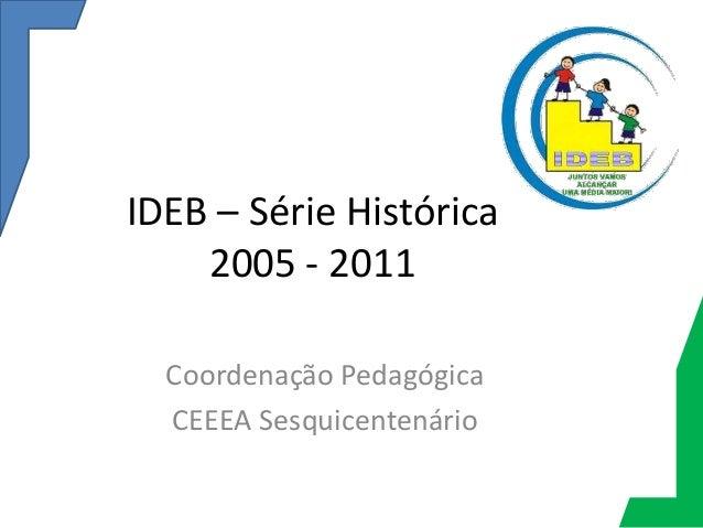 IDEB – Série Histórica    2005 - 2011  Coordenação Pedagógica  CEEEA Sesquicentenário