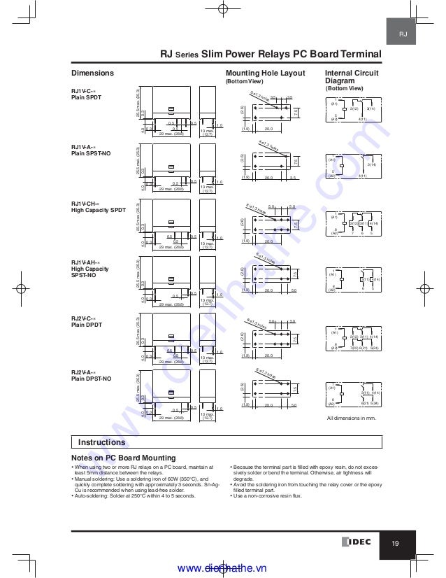 idec catalog relays & sockets idec  idec ry4s relay wiring diagram #4