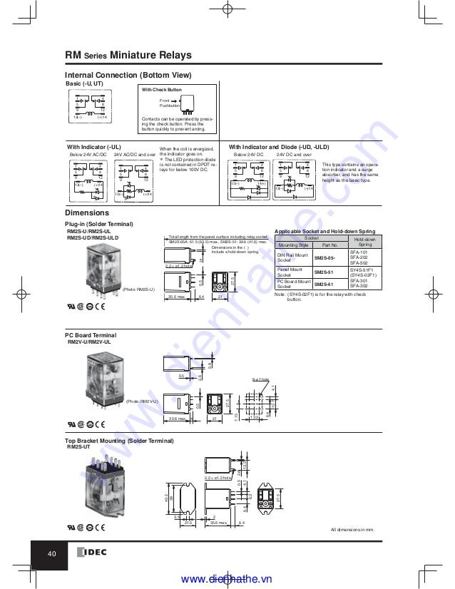 idec catalog relays & sockets idec  idec ry4s relay wiring diagram #7