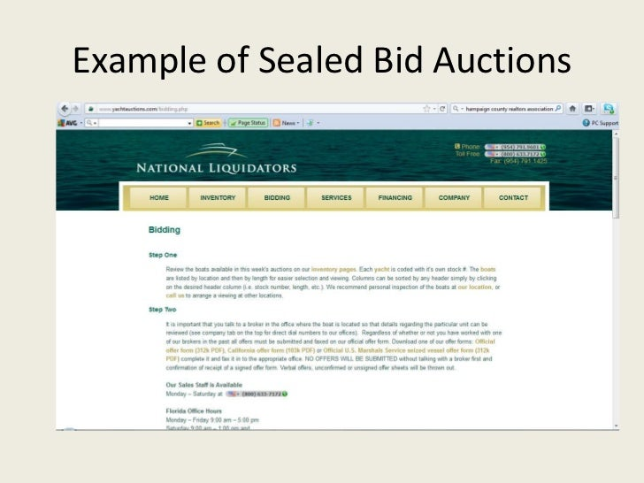 example of sealed bid auctions