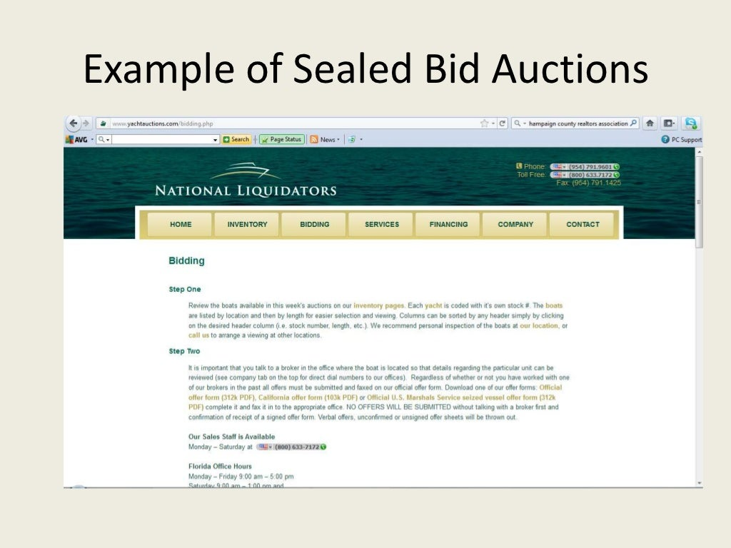 How to write a sealed bid offer