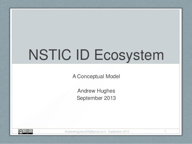 NSTIC ID Ecosystem A Conceptual Model Andrew Hughes September 2013 AndrewHughes3000@gmail.com - September 2013 1