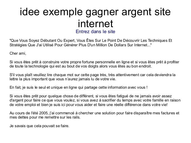 Idee exemple gagner argent site internet for Idee site internet