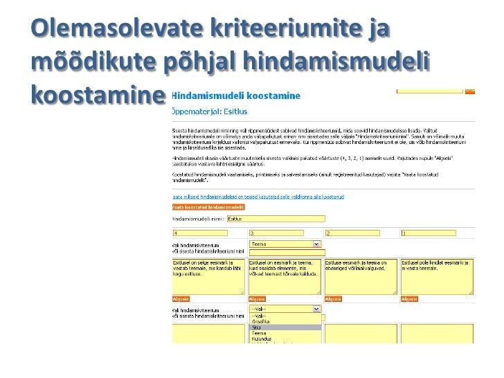 Olemasolevate kriteeriumite jamõõdikute põhjal hindamismudelikoostamine